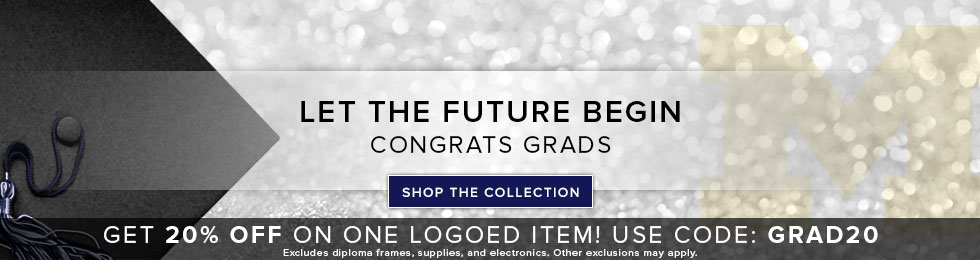 Picture of a graduation cap and school logo on a sparkling background. Let the future begin. Congrats Grads. Click to shop the Collection.